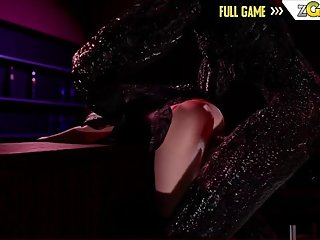 Sexy 3D Brunette Sucking and Riding a Hard Cock Horror Anal