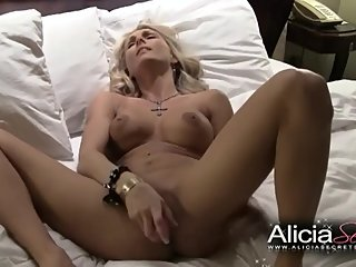 Desired Alicia Secrets spreads her legs and toys her pussy