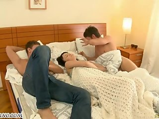 Sleeping sister fuck by two brother