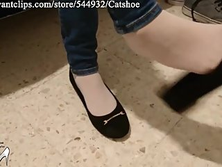 Do you desire her white nylon feet and shoeplay in black flats